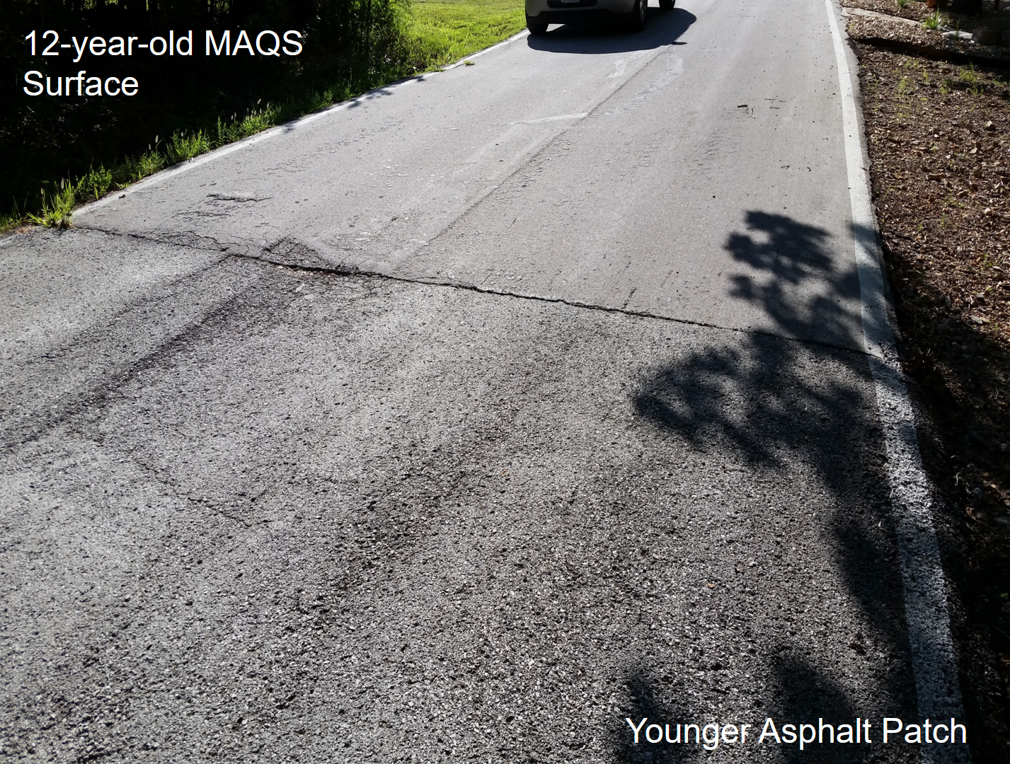 12 year-old MAQS Surface compared to a younger asphalt patch