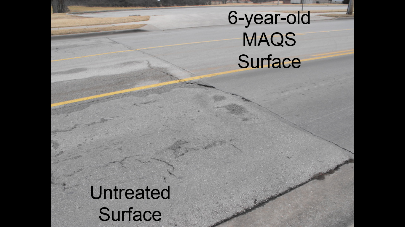 Comparing a 13 year-old asphalt surface with a 6 year-old MAQS surface